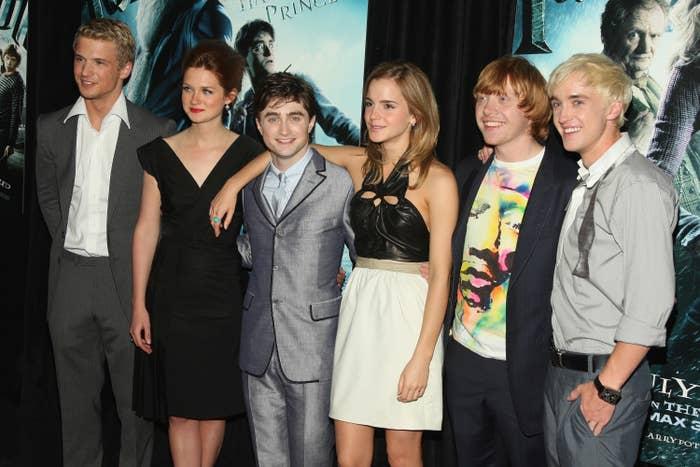 """Harry Potter"" cast Freddie Stroma, Bonnie Wright, Daniel Radcliffe, Emma Watson, Rupert Grint and Tom Felton attend the ""Harry Potter and the Half-Blood Prince"" premiere"