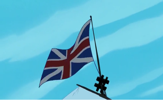 """The Union Jack flag in """"Pocahontas"""" which is lacking the extra red stripes that represent Ireland"""