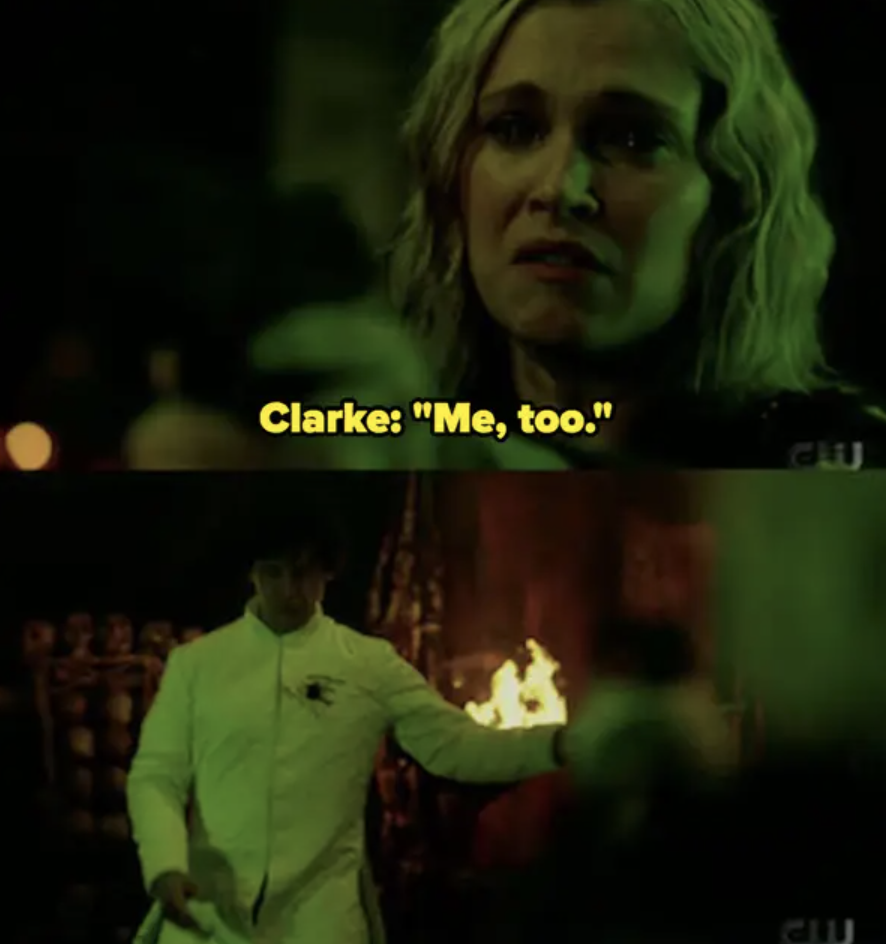"Clarke says ""Me, too"" then shoots Bellamy"