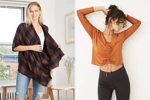 to the left: a model in a buffalo check cardigan, to the right: a model in an orange ruched top