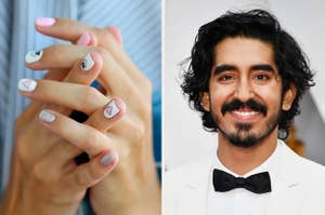 A manicure with little triangle details on the left and Dev Patel on the right