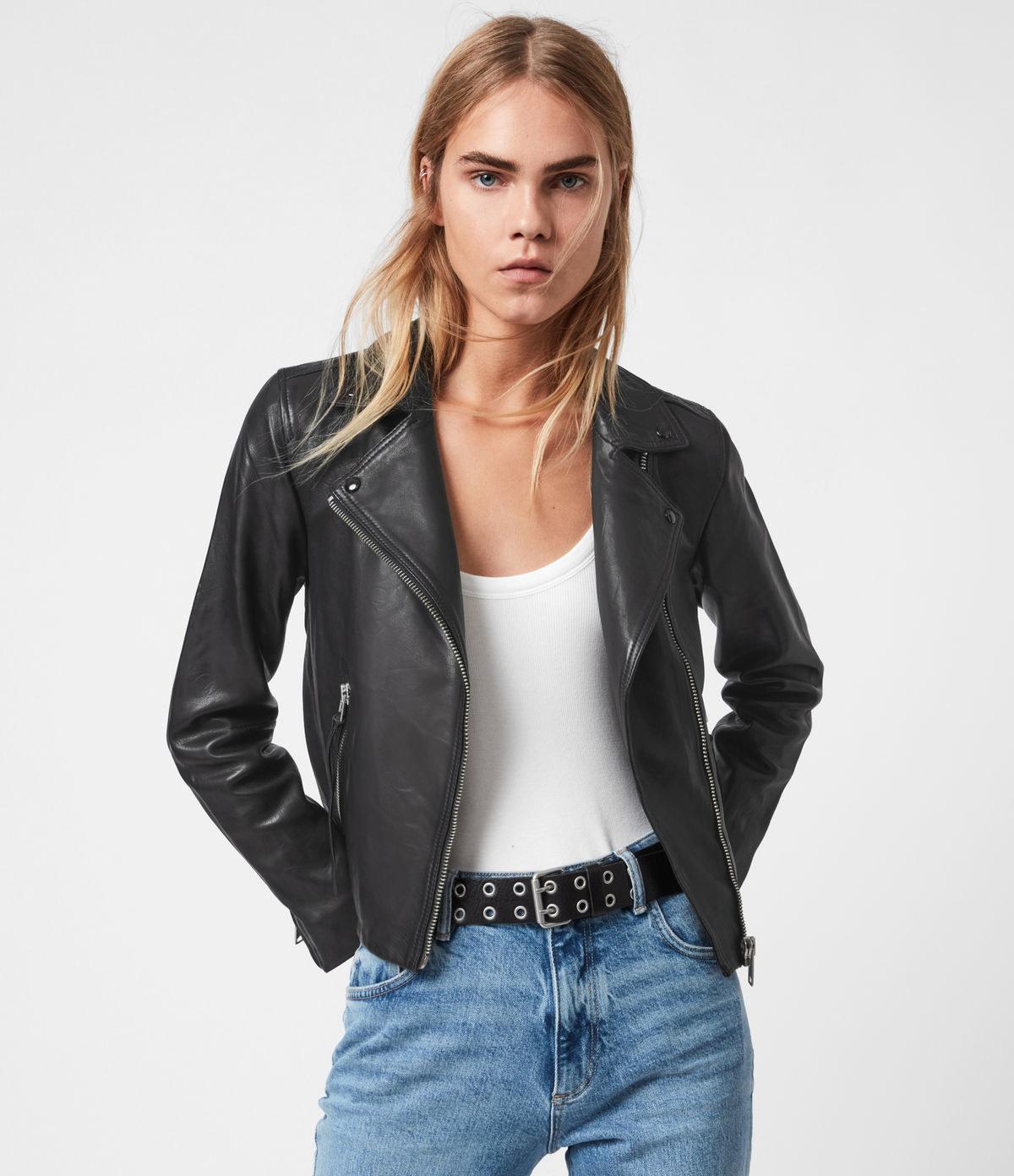 a model in a black leather biker jacket