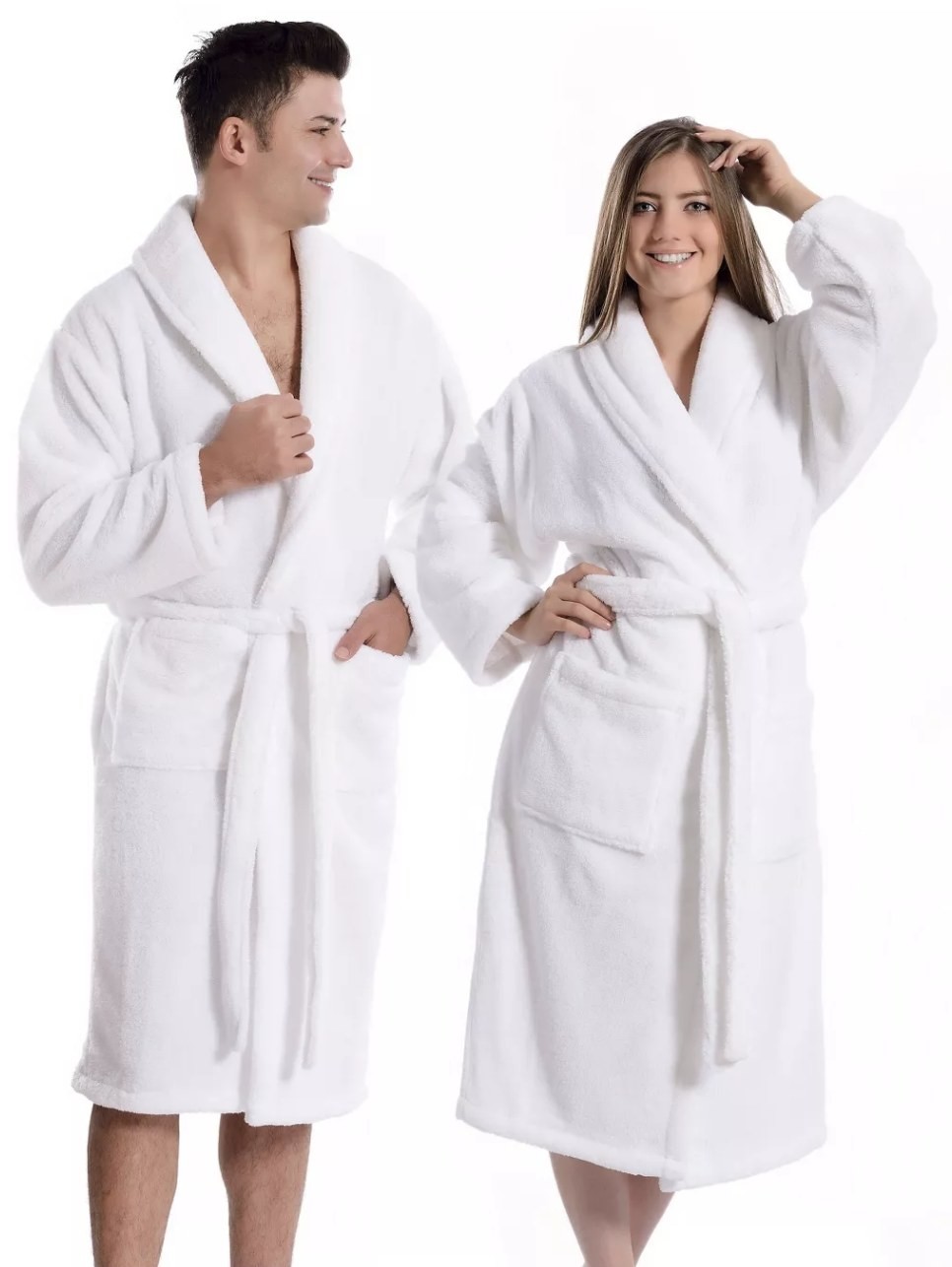 two models wearing white unisex bathrobes