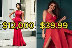 一件价值12000美元的红色连衣裙和一件39.99美元的连衣裙