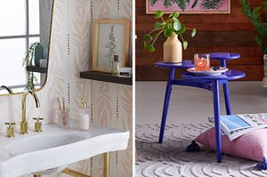 Vintage palms wallpaper and an eclectic side table