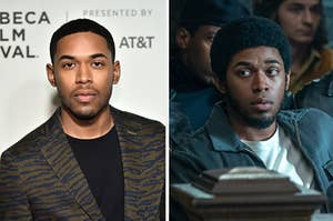 """Kelvin Harrison Jr. on a red carpet and Fred Hampton from """"The Trial of Chicago 7."""""""