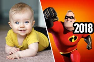 Mr. Incredible next to an infant