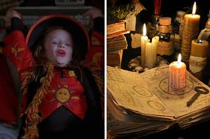 Dani is hanging on a rod in her closet on the left with an open spell book on the right