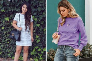 On the left, a reviewer wearing a tweed shift dress. On the right, a model wearing a purple pom pom sweater