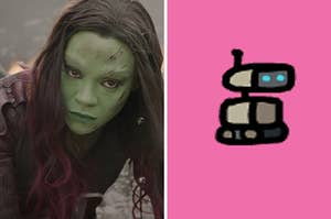 """On the left, Zoe Saldana as Gamora in """"Guardians of the Galaxy,"""" and on the right, a robot pet from """"Among Us"""""""