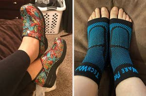 Side by side of multi-colored floral-print clogs and reviewer wearing foot sleeves