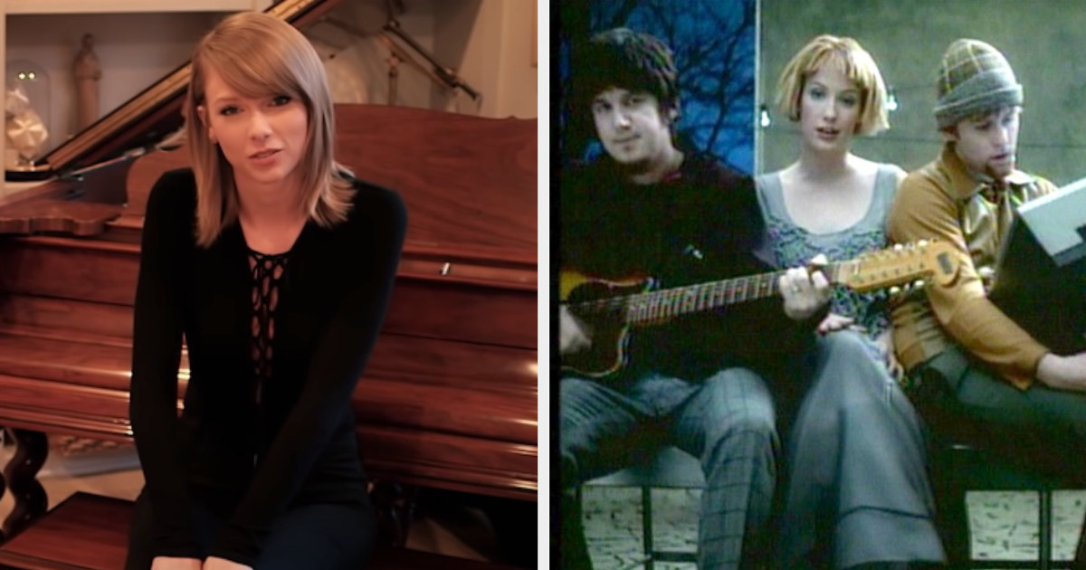 "Taylor Swift sitting at her piano during her ""73 Questions"" interview; Sixpence None the Richer's ""Kiss Me"" music video"