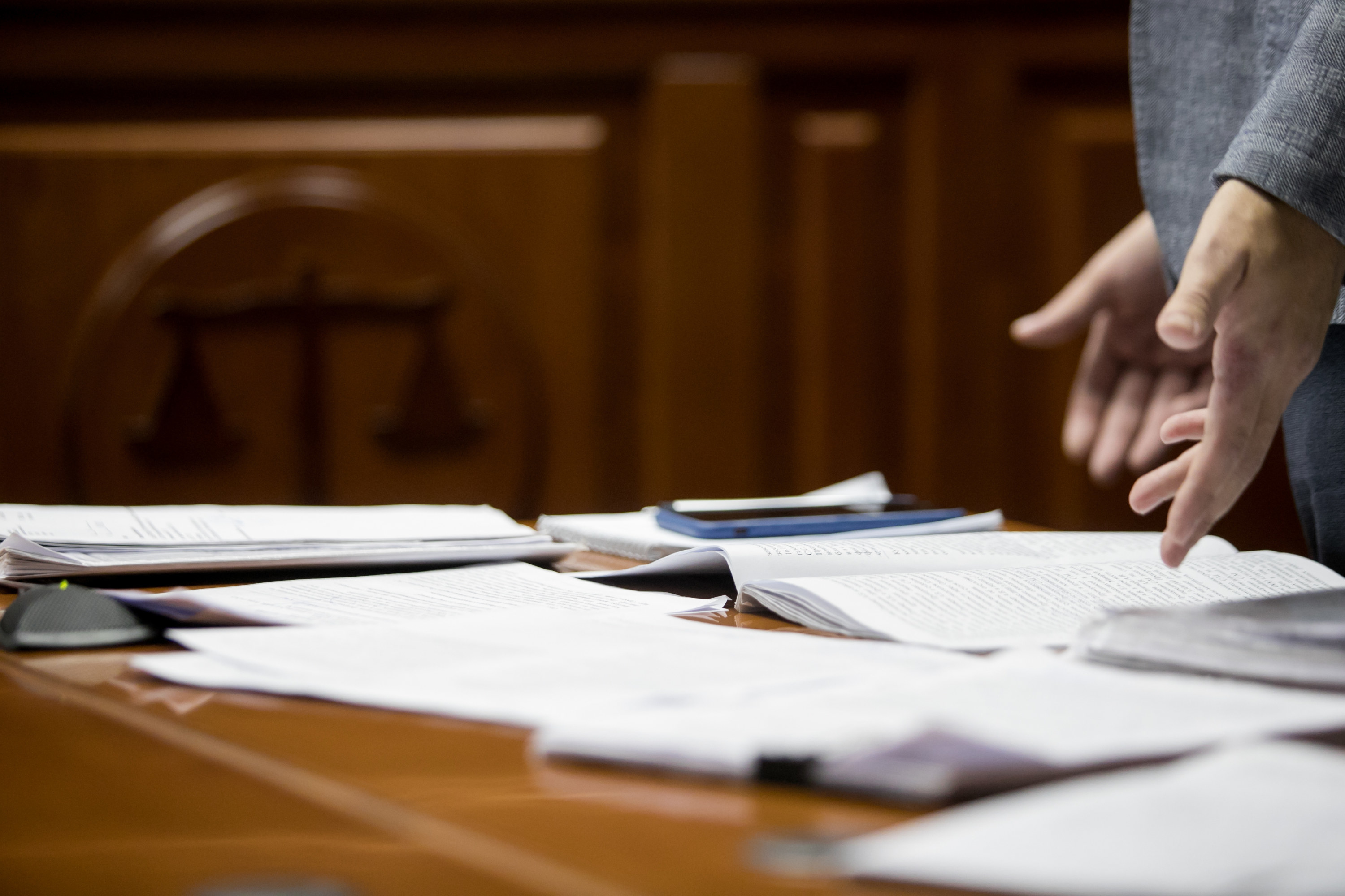 Court documents on a table