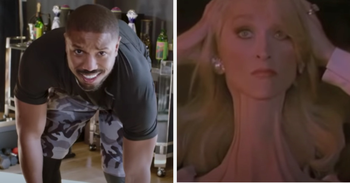 "Michael B. Jordan being interviewed for ""73 Questions"" and Meryl Streep stretching out her neck in ""Death Becomes Her"""