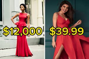 A red dress that costs $12,000 and one that costs $39.99