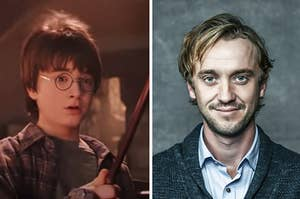 Harry Potter trying out his magic wand for the first time and Tom Felton