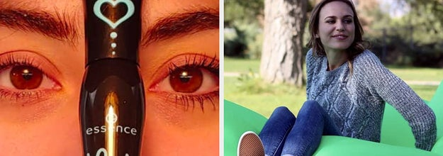 On the left, reviewer shows before-and-after eyelashes after using Essence mascara. On the right, model sets in green inflatable couch on grass
