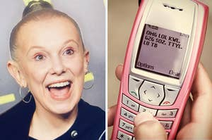old millie bobby brown on the left, t9 texting on the right