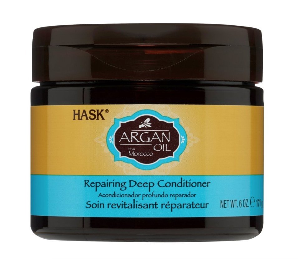 Brown tub of Argan Oil deep conditioner with yellow and blue label
