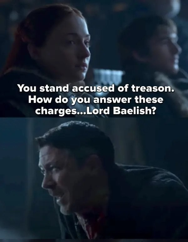 Sansa asks how the accused answers the charges of treason, then turns to Littlefinger, who Arya kills