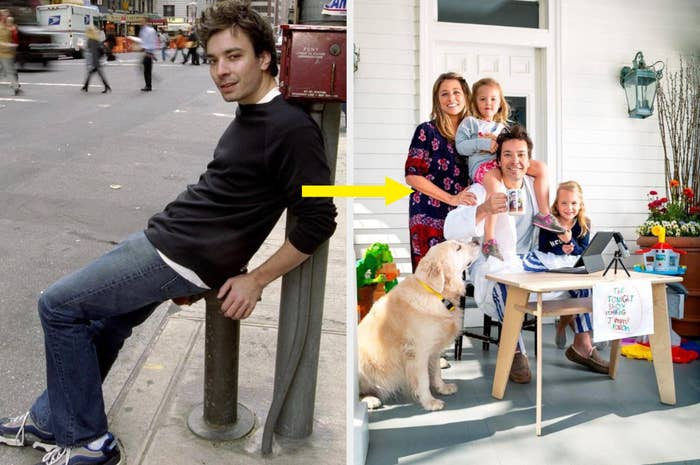 Side-by-side images of a young Jimmy Fallon and Jimmy Fallon present day with his family and dog.