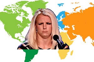 Britney Spears with a confused expression on her face and an illustration of a world map in the background