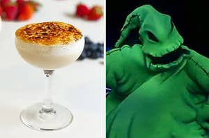A cocktail glass filled with foamy liquid next to a monster with a stitched up mouth