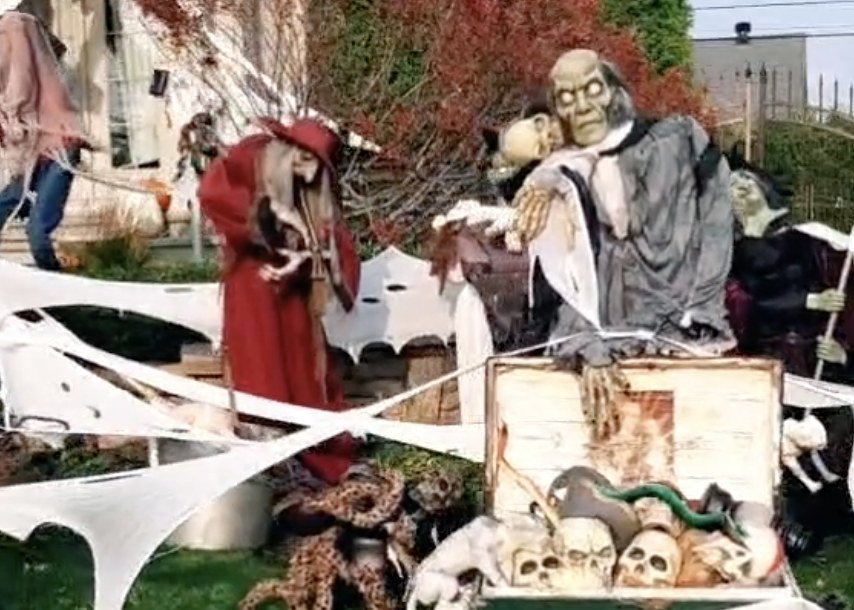 A yard full of goblins, ghouls and skeletons