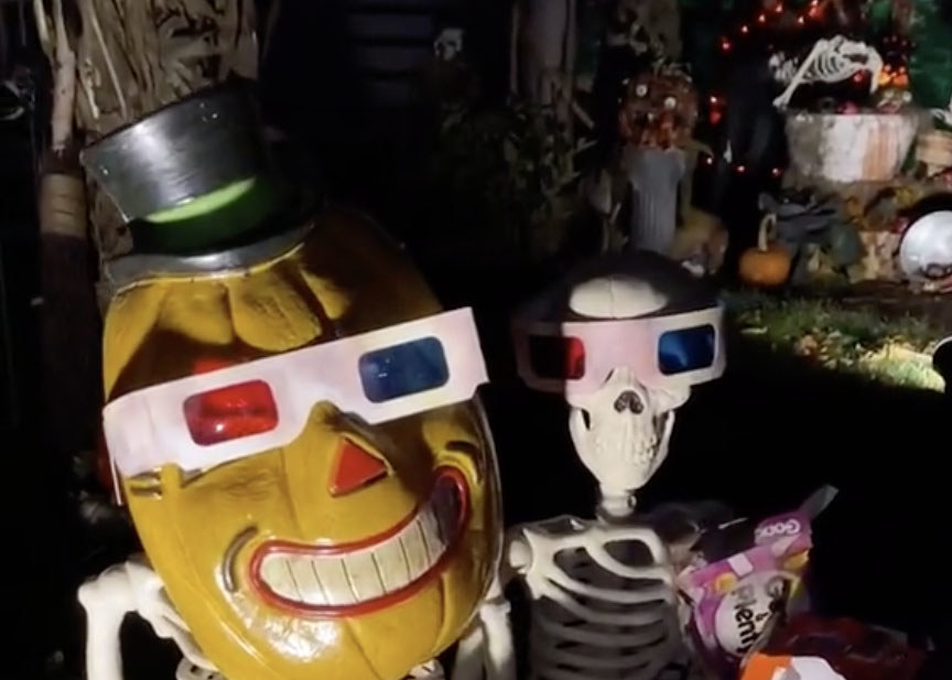 Two skeletons wear 3D glasses while sitting in a pumpkin patch
