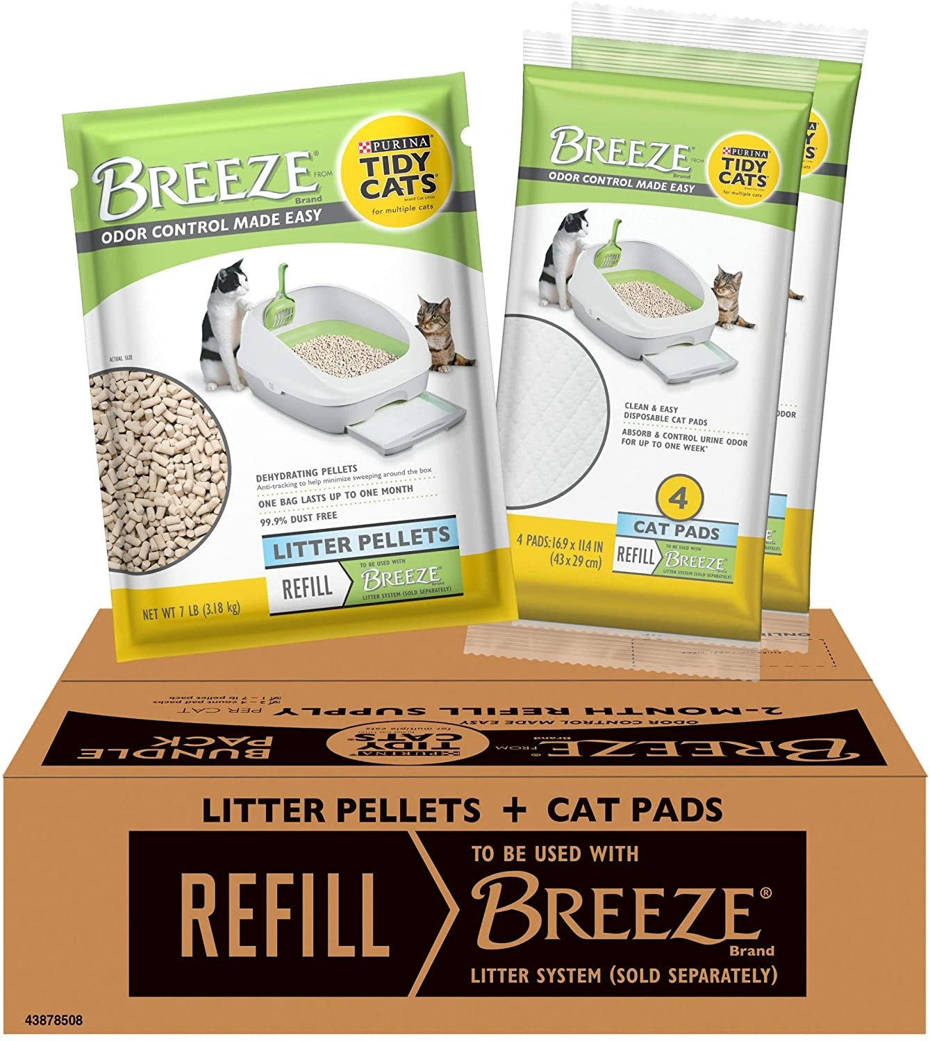 Refill for Breeze system with refills for litter pellets and cat pads