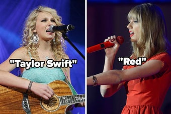 Taylor Swift during her debut era and the Red era
