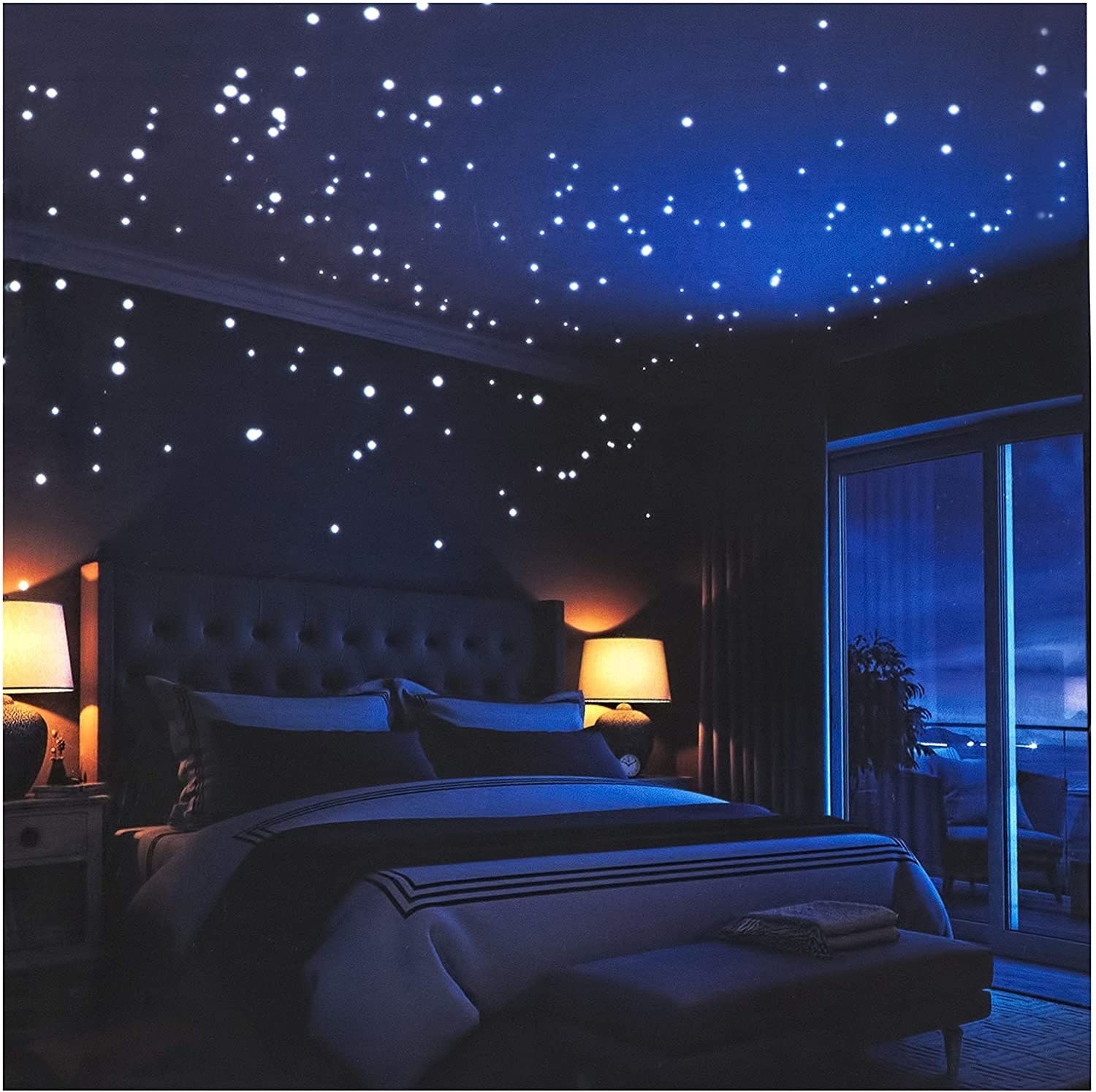 A bedroom ceiling peppered with glow-in-the-dark stars