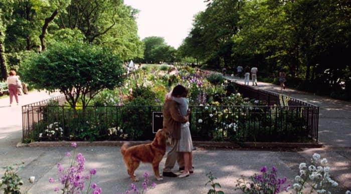 "Tom Hanks and Meg Ryan kiss in Riverside Park in ""You've Got Mail"""