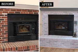 split thumbnail of fireplace before and after whitewashing painting kit