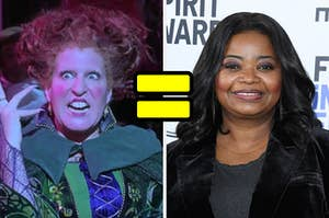 """On the left, Bette Midler as Winnie Sanderson in """"Hocus Pocus,"""" an on the right, Octavia Spencer with an equal sign in between both of their faces"""