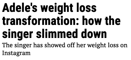 Screenshot of a headline about Adele's weight loss