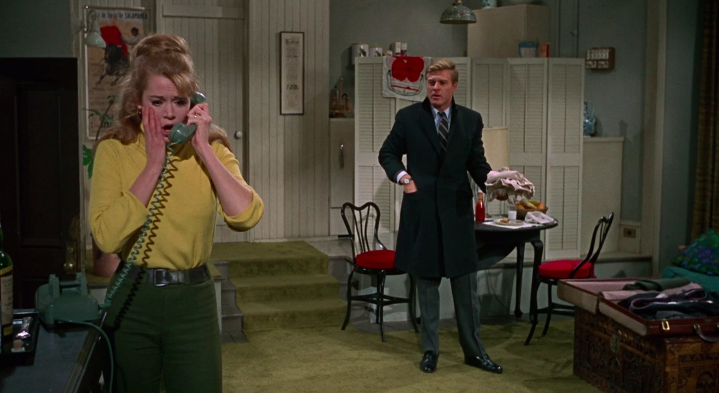 """jane fonda and robert redford in an apartment in """"Barefoot in the Park"""""""