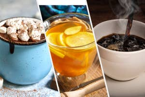 Hot cocoa, tea, and coffee.