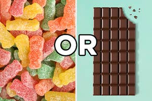 "On the left, Sour Patch Kids, and on the right, a chocolate bar with a bite taken out of it, with ""or"" typed in between the two images"