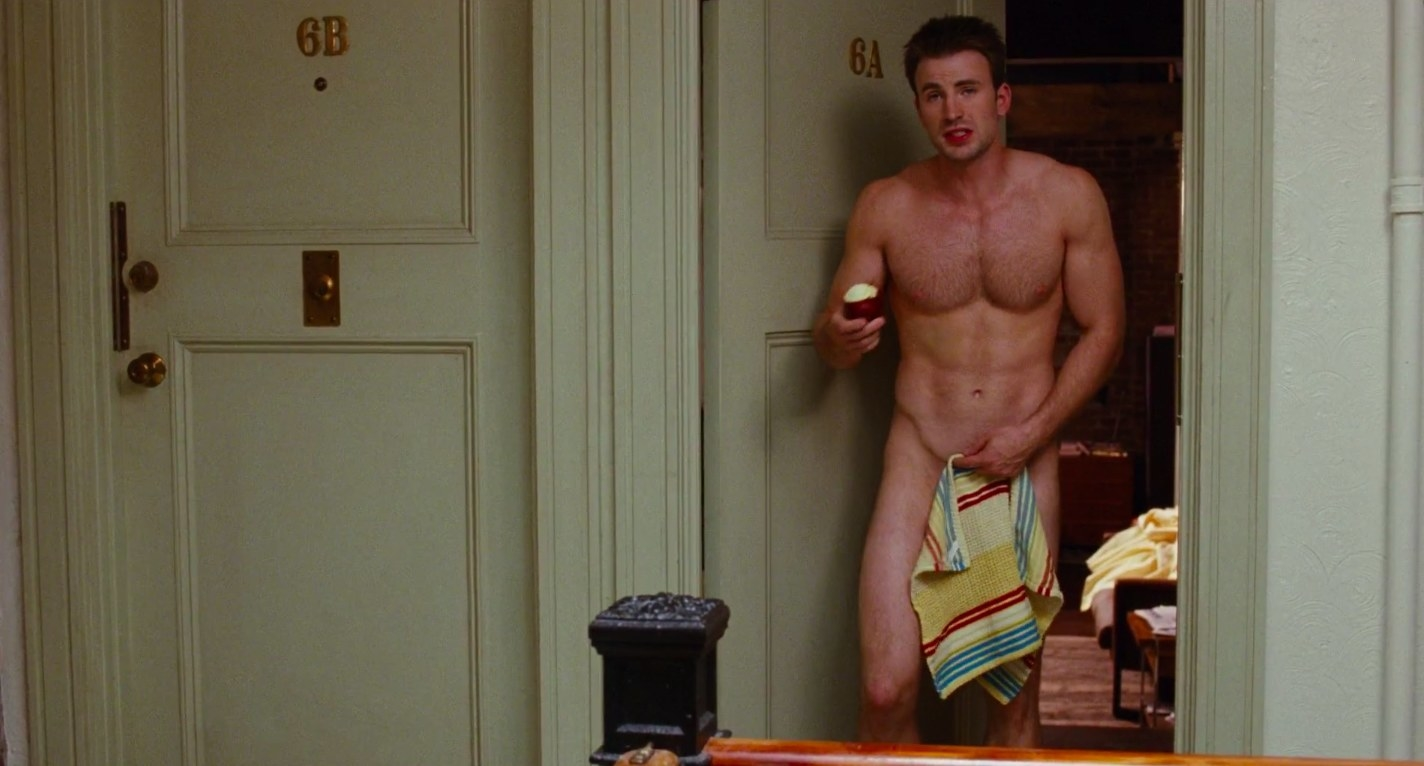 """chris evans comes out of his apartment naked with a towel over him in """"what's your number?"""""""