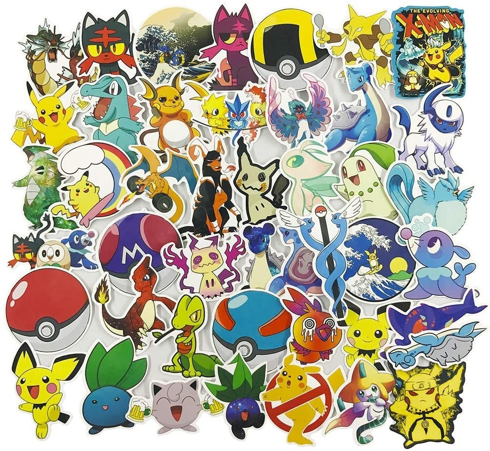 an array of pokemon stickers
