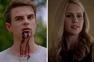 Kol on the left with blood dripping out of his mouth and Rebekah on the right