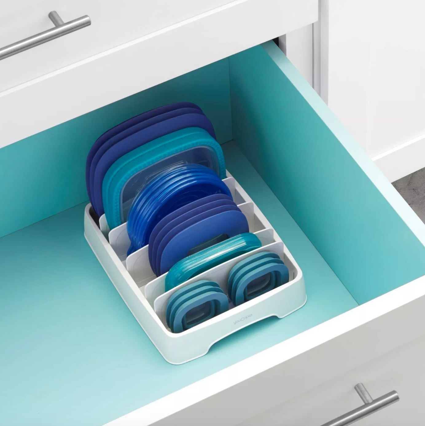 The container lid organizer in white