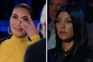 Kim and Kourtney during the interview in tears