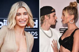 Hailey Bieber smiling, and Justin Bieber looking into Hailey's eyes