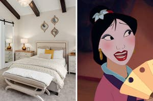 On the left, a modern bedroom with a large bed with two nightstands on either side and a chandelier, and on the right, Mulan
