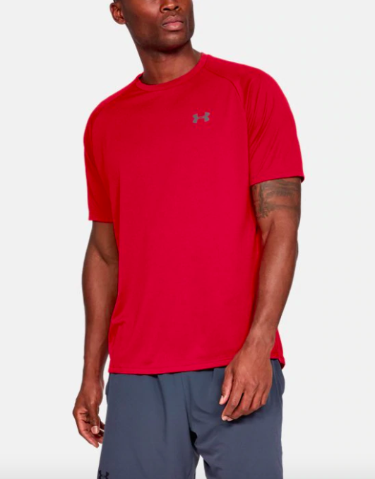 Model wears quick-dry red short-sleeve tee with navy blue basketball shorts