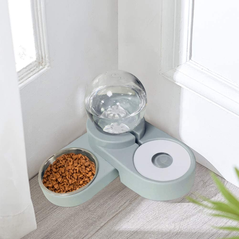 The pet feeder filled with water and food