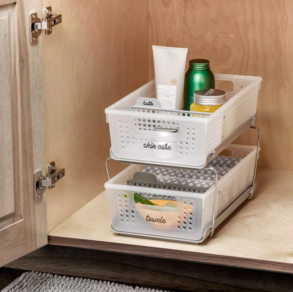 The two-tier organizer with dividers in frosted white/ clear
