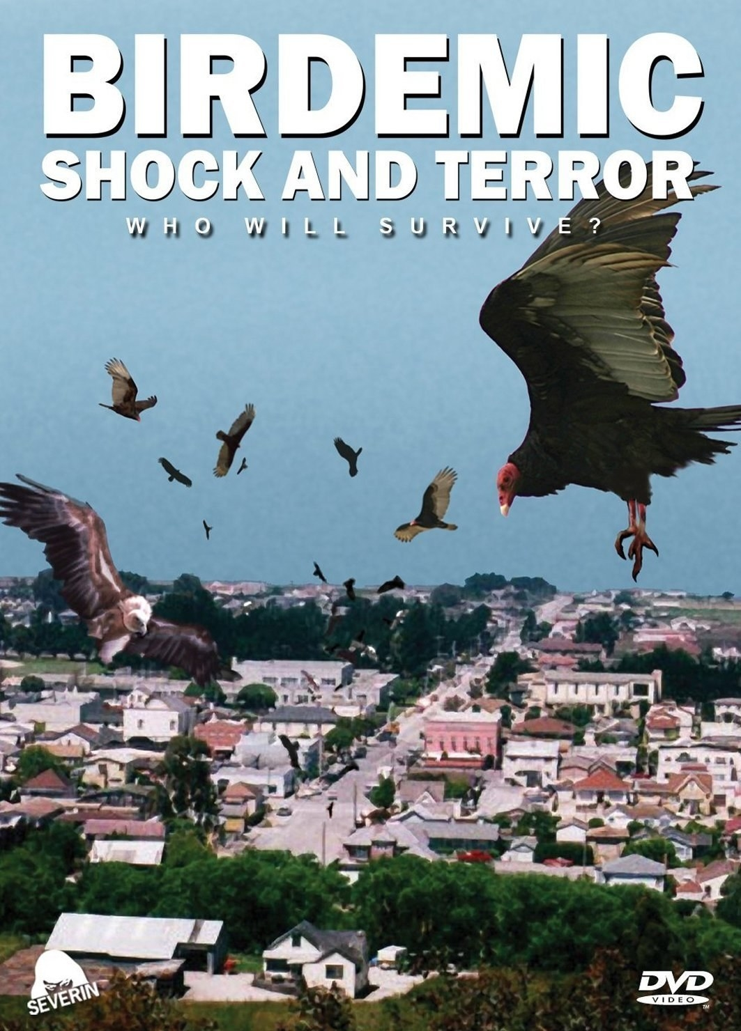 Cover of Birdemic Movie with birds flying over town.